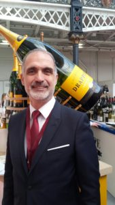 Michel Drappier pictured at the London Wine Fair with a Melchizedek of champagne equivalent to 40 standard bottles of champagne.
